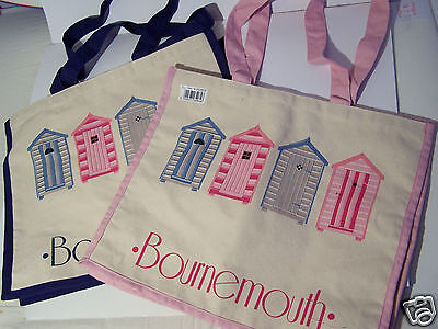 Bournemouth Pink Blue Beach Hut Canvas Cotton Tote Shopping Holiday Bag Gift