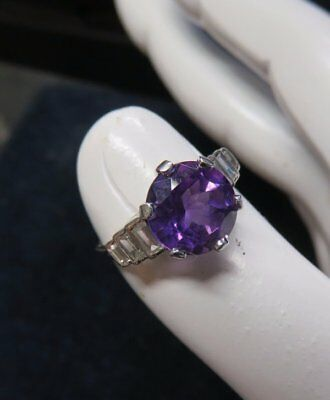 Vintage Solid Platinum Set Amethyst & Diamond Ring. Size L.  4.9 Grams.