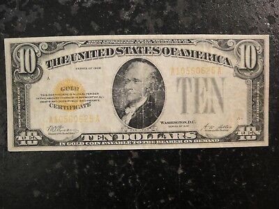 1928 United States $10 Gold Certificate. #F-2400. Very Good to Fine.
