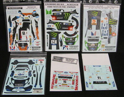 Six (6) Different Sets Of 1/24 Ford Fiesta Rally Race Car Decals