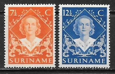 SURINAM - 1948.  Qn. Juliana Accession - Set of 2, MH