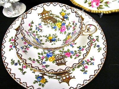 AYNSLEY TEA CUP AND SAUCER  TRIO painted  PINK ROSE TEACUP MIKADO PATTERN set