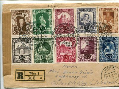 Austria reg set cover to Sweden 21.6.1947