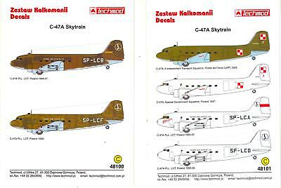 TWO 1/48 Techmod Decals C-47A SKYTRAIN Polish Air Force & Air Lines *MINT*