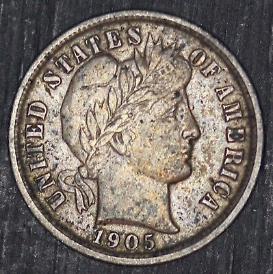 1905-P U.S. Barber Dime Silver 10 Cents Coin - NICE QUALITY
