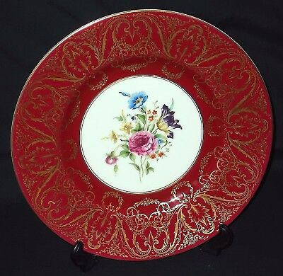 Royal Worcester HAND PAINTED - FLORAL SPRAYS Cabinet Plate - Maroon and Gilt