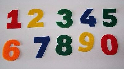 Colourful Self Adhesive Felt Numbers ideal for card making, Numbers 0-9