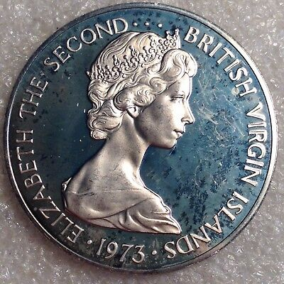 British Virgin Islands 50 Cents 1973 PROOF Large Coin!