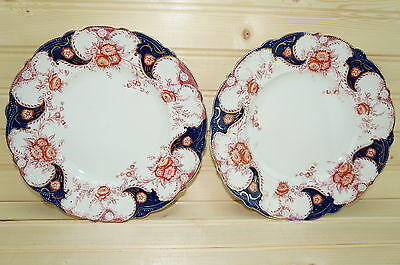 "Wood & Sons Lois (2) Luncheon Plates 9"" Flow Blue England"
