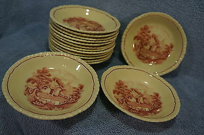Wood & Son Grenville Enoch Pink Village Scene (13) Berry Bowls Sauce Fruit