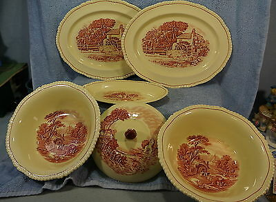 Wood & Son Grenville Enoch Pink Village Scene (6) Serving Pc-Platter Bowl Relish