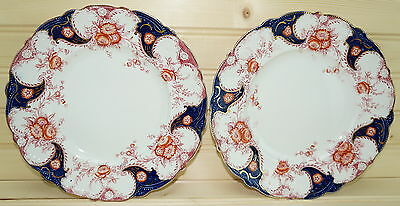 "Wood & Sons Lois (4) Dinner Plates 10"" Flow Blue England"