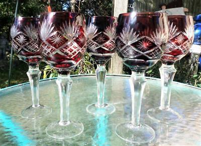 "5 Vintage Ruby Cut Glass Wine Hock Goblets Bohemian 7 1/2"" Tall Beautiful"