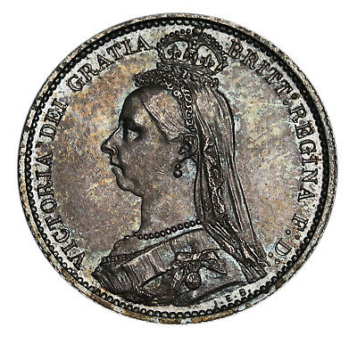 1887 UK Great Britain Sterling Silver Sixpence 6 Pence KM# 759 - S.3928 Toned AU