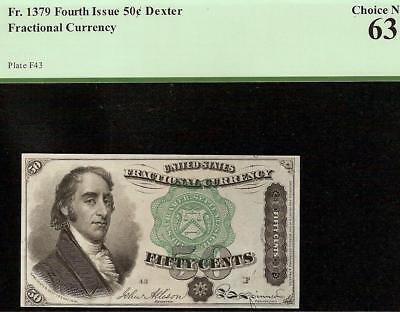 UNC 50 CENT DEXTER GREEN SEAL FRACTIONAL NOTE US CURRENCY MONEY Fr 1379 PCGS 63