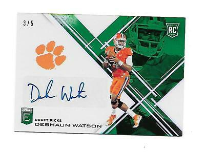 2017 Elite Draft Picks Auto RC SSP Deshaun Watson Clemson Texans Emerald #3/5 !