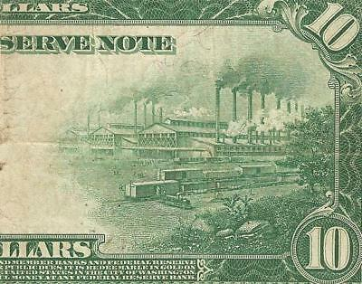 Large 1914 $10 Dollar Bill Federal Reserve Note Big Paper Money Currency Jackson