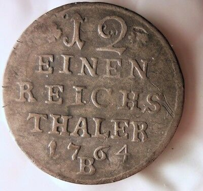 1764 GERMAN STATES (PRUSSIA) 1/12 THALER- Low Mintage Rare Silver Coin -Lot #121
