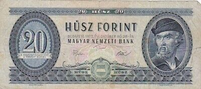 1975 Hungary 20 Forint Note, Pick 169f