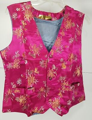Pre Owned Womens Chinese Asian Oriental China Print Costume Vest Size Medium