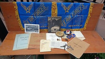 lot WWII vintage AAF veterans items manuals insignias orders whistle & patches