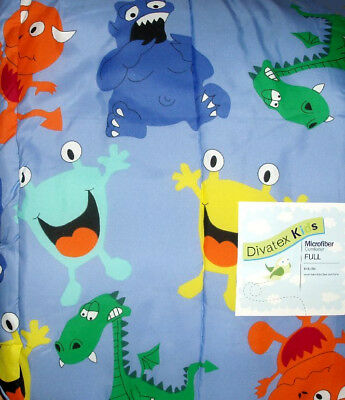 Silly Monsters Blue Full Comforter Bedding New