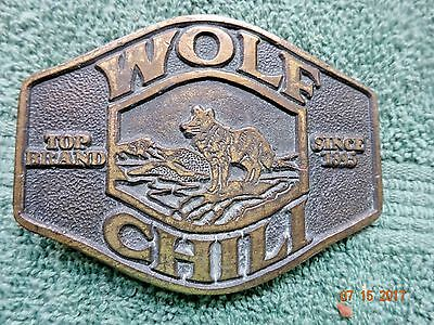 Vintage Wolf Chili BELT BUCKLE Brass Texas 1976 Edition Top Brand Since 1895