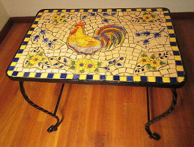 Ceramic Mosaic Table w/ Rooster & Floral Hand Crafted Design Wrought Iron Base