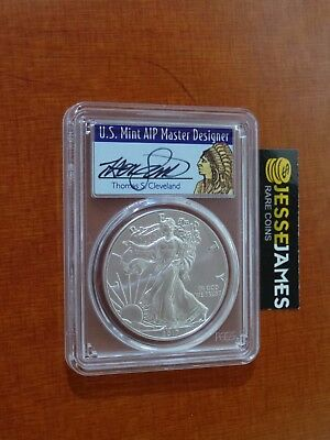 2017 Silver Eagle Pcgs Ms70 Cleveland First Day Issue Native Chief Pop 250