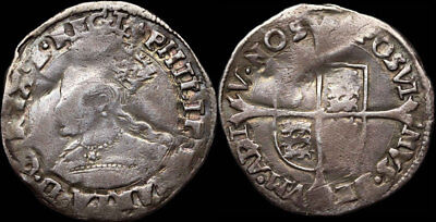 Bloody Mary Hammered Silver Groat. Philip and Mary