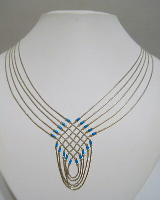 GORGEOUS Vtg SW NATIVE Sterling Silver & Turquoise HEISHI BEAD Braided NECKLACE