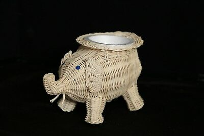 Natural Wicker Elephant Animal Planter Plant Pot Holder NEW