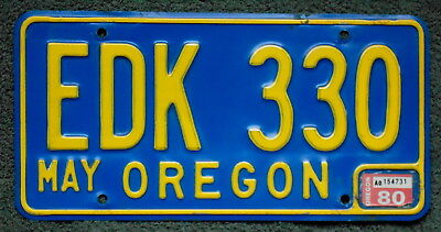 1980 OREGON Classic Yellow on Blue License Plate EDK 330