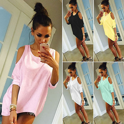 Plus Size Womens T-Shirt Cold Shoulder Loose Blouse Casual Fashion Top Tee Shirt