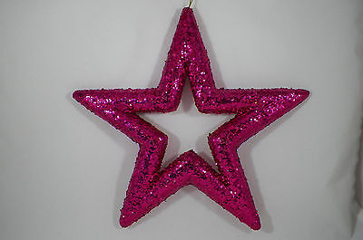 Pink Glittered Star Christmas Tree Ornament new holiday