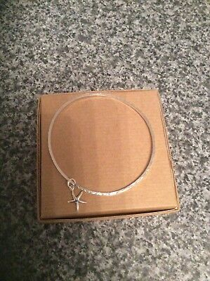 Lovely Sterling Silver Hammered Effect Bangle With Starfish-Starfish Bangle