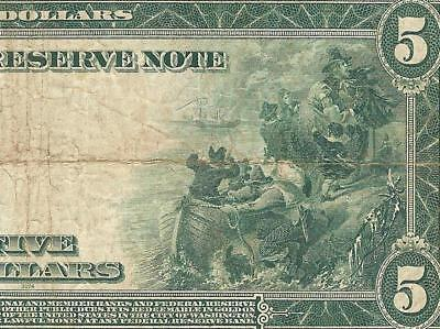 LARGE 1914 $5 DOLLAR BILL FEDERAL RESERVE NOTE BIG PAPER MONEY CURRENCY Fr 871a