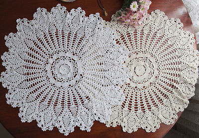 Hand Crochet Doily Placemat Tablecloth Pineapple Lace Round 60CM White/Ecru FP03