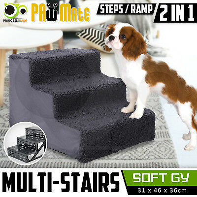 Pet Dog Soft Plush 3 Steps Ladder Washable Cover Doggy Ramp Stairs - GY