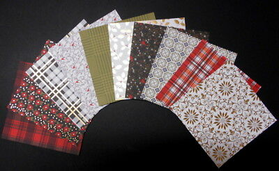 DCWV *CHRISTMAS PLAID* x 10 - 4 with FOIL*SCRAPBOOKING/CARDS 15cm x 15cm (6 x 6)