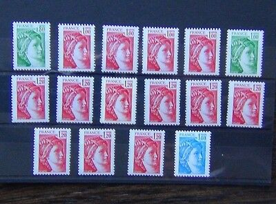France 1977 values to 1F40 MNH