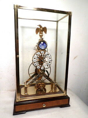 24K Gold Eagle Skeleton Clock-Individual Cartouche & Calendar Dial-Chain Fusee