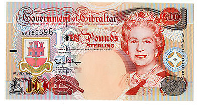 Gibraltar £10 Ten Pounds Banknote 1st July 1995 AA Prefix (P26) Uncirculated