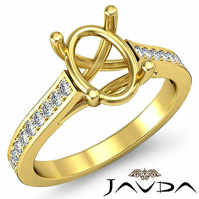 Solitaire Style Diamond Engagement Ring 18k Yellow Gold Oval Semi Mount 0.30Ct