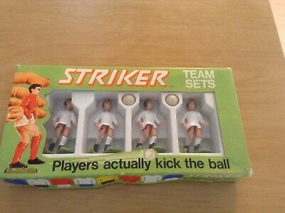 Vintage Set of 4 STRIKER team sets white kit figures + the 2 balls