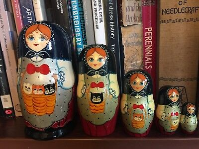 5 Complete Vintage Russian Dolls Babushka Matryoshka Cat Kittens Lady Attic Find