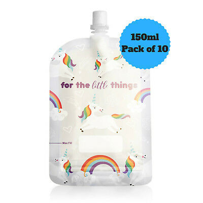 Sinchies 150ml Unicorns Reusable Food Pouches Top Spout BPA Free Pack of 10