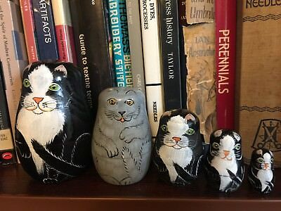 5 Vintage Russian Dolls Black White Grey Cat Babushka Matryoshka Attic Find