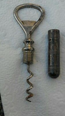 Rare 1880s VICTORIAN Sterling corkscrew bottle opener WEBSTER Attelboro MA