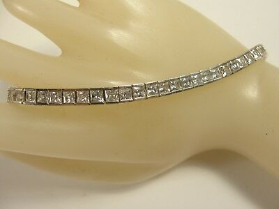 ".925 Sterling Silver Princess Cut CZ Tennis Bracelet app 8cts  7.25"" long  15.3g"